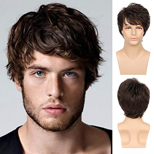 Sallcks Mens Brown Wig Short Layered Wig Natural Fluffy Synthetic Cosplay Costume Wig for Men