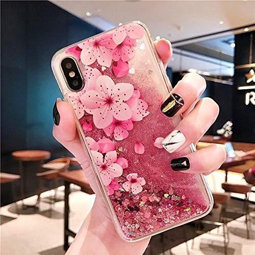 LIUYAWEI para Samsung Galaxy S10 S8 S9 Plus S7 S6 Edge Note 9 8 Quicksand Glitter Funda para A50 A70 A6 A8 A7 2018 J3 J5 J7 A3 A5 2017 Funda, Flor, para S6 Edge Plus