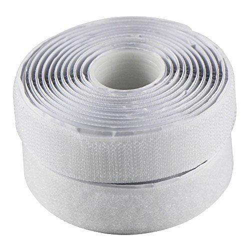 EDGEAM Bandes Scratch adhésif Bande Agrippantes AdhésivesHook Loop Autocollante 20mm large (5 Meters, blanc)