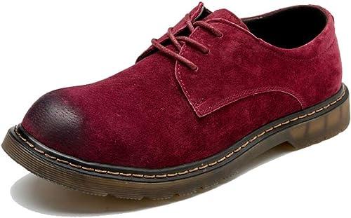 DINGGUANGHE-chaussures Cuir Verni Bottines à la Mode Confortables et élégantes pour Hommes Décontracté Ox en Cuir à Lacets Bout Rond Chaussures de Travail Chaussures habillées (Couleur   Rouge, Taille   45 EU)