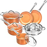SHINEURI Nonstick Ceramic Copper Cookware Set, Aluminum Pots and Frying Pans Set, Steamer