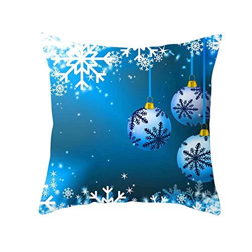 Aeici Fodere Cuscini Natalizie,Federe Cuscini 50x50cm Federa Cuscino Natalizio Fiocco di Neve Decoration Palla Blu