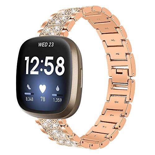 Tencloud Correas compatibles con Fitbit Sense, correa de repuesto de acero inoxidable con cristales de diamantes de imitación para reloj inteligente Fitbit Sense/Versa3 (oro rosa)