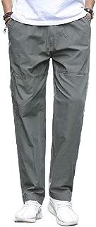 Highisa Men Slim Solid Fit Pockets Straight Business Plain-Front Pant