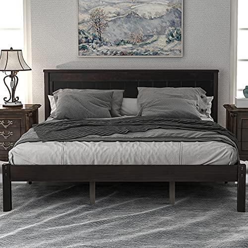 Wood Platform Bed Frame (Espresso, Queen)
