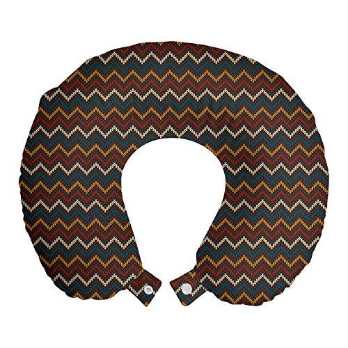 ABAKUHAUS Noruego Cojín de Viaje para Soporte de Cuello, Oscuro Tradicional Chevron, de Espuma con Memoria y Funda Estampada, 30x30 cm, Multicolor