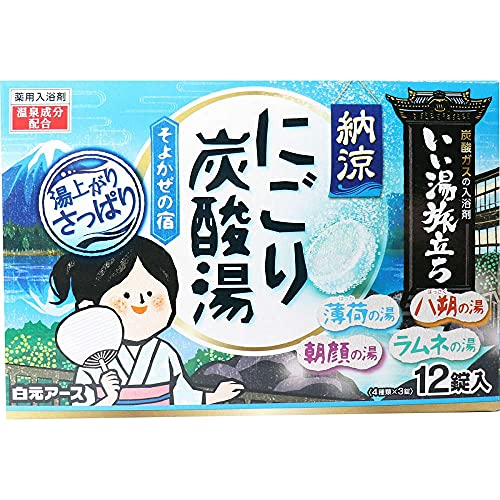 白元アース 【医薬部外品】いい湯旅立ち 納涼にごり 炭酸湯 そよかぜの宿 入浴剤 45g×12錠