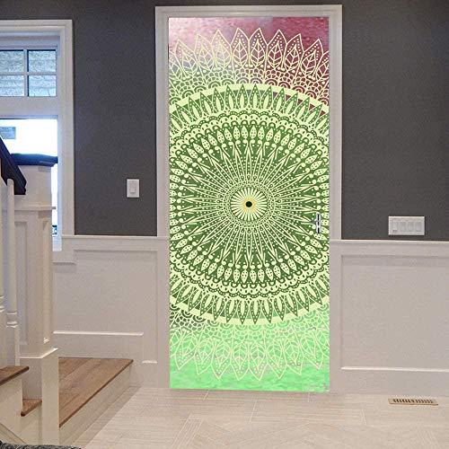 Papel Pintado Puerta Efecto 3D Extraíble Murales Para Puertas Autoadhesivo Impermeable PVC de Cocina Sala Baño oficina Decoración Puerta Papel Tapiz 77 x 200cm Mandala rojo y verde