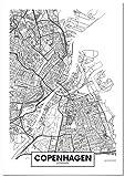 Panorama Poster Karte von Kopenhagen 21 x 30 cm - Gedruckt