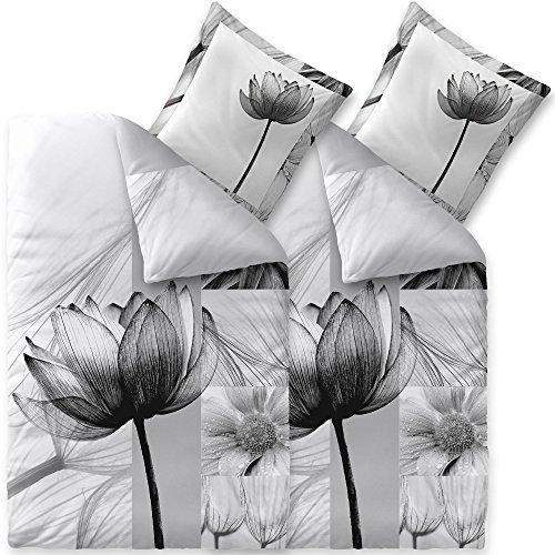 aqua-textil Trend Bettwäsche 135x200 cm 4tlg. Baumwolle Bettbezug Flora Blumen Weiß Grau Schwarz