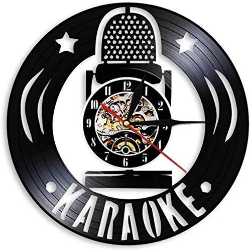 wttian Karaoke Mikrofon Schallplatte Wanduhr modernes Design Musik singen einzigartige Vinyl CD Uhr handgemachte Musik Heimtextilien