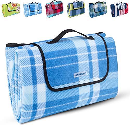 TRESKO XXL 200 x 200 cm coperta per picnic pile impermeabile | telo da campeggio per esterni con maniglia per il trasporto | termoisolante e morbida PNDKE41