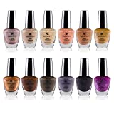 SHANY Cosmetics Nail Polish Set - 12 Nude and Natural Shades in Gorgeous Semi Glossy and Shimmery Finishes - Earth Collection