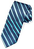 Amazon Brand - Buttoned Down Men's Classic Silk 3' Necktie, blue/teal stripe, Regular