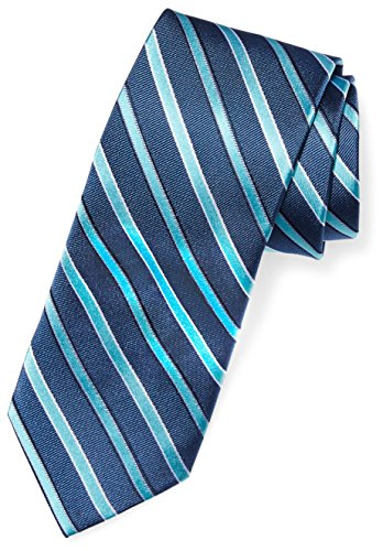 BUTTONED DOWN Men's Classic Silk 3' Necktie, blue/teal stripe, Regular