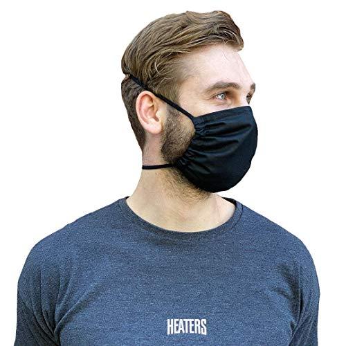 HEATERS Nachhaltige Atem Mundschutz Stoff Maske 100% Baumwolle Schwarz 5er Pack (5)