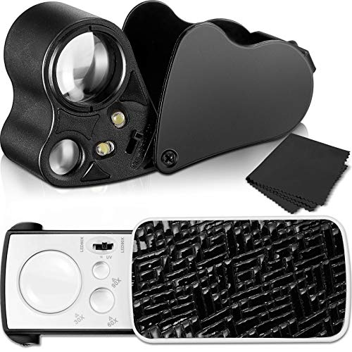 2 Pieces Jewelers Loupe 30X 60X 90X Illuminated Jewelers Eye Loupe Magnifier Portable Jewelry Loupe Magnifier with UV Black Light and Bright LED Light for Jewelry Diamond Gem Coin Stamp Rock (Black)