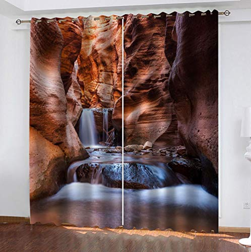 zpangg Black Out Window Cover Waterfall Blackout For Children Bedroom Eyelet Thermal Insulated Room Darkening Curtains For Nursery Living Room Bedroom 150×166Cm