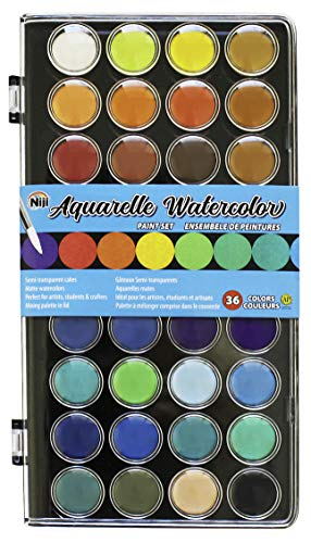 Niji Yasutomo Aquarelle Watercolors, 36 Colors