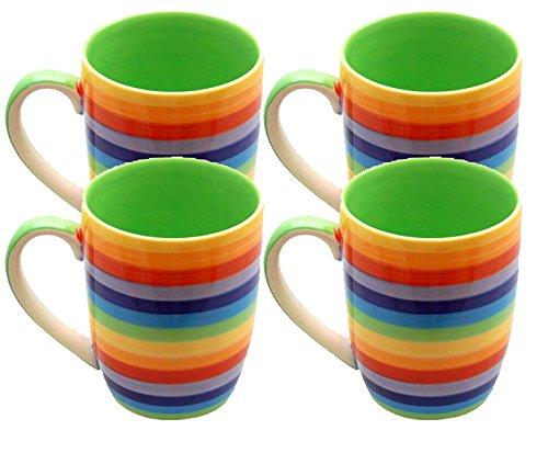 Windhorse Keramiktassen, Regenbogenfarben, 10 cm, groß, 250 ml, 4 Stück