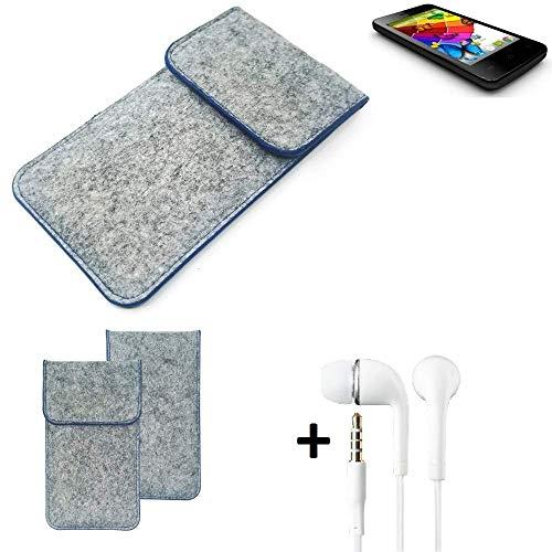 K-S-Trade® Filz Schutz Hülle Für Mobistel Cynus E4 Schutzhülle Filztasche Pouch Tasche Handyhülle Filzhülle Hellgrau, Blauer Rand + Kopfhörer
