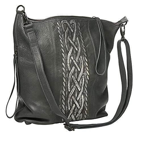 Women's Celtic Braid Leather Handbag - Gray - 14' Wide x 17' High