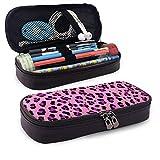 Yaxinduobao Cremallera de cuero con estuche para lápices Leopard Print PU Leather Pencil Pen Bag Pouch Case Holder High School Coin Purse Cosmetic Bag