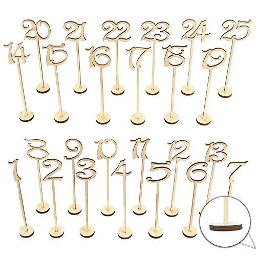 Beauneo Numeros de mesa de boda de madera 1-25 pzs Decoracionde aniversario...