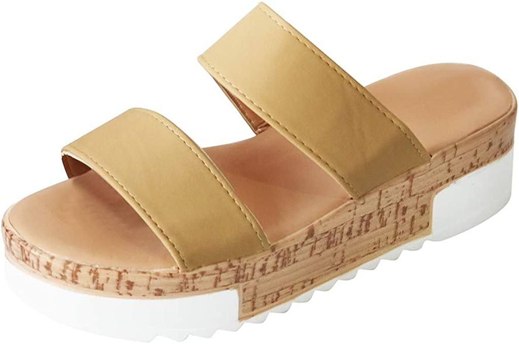 Sandals for Women Wedge Comfy Thick Platform Sandals Flat Comfort Summer Beach Roman Travel Shoes
