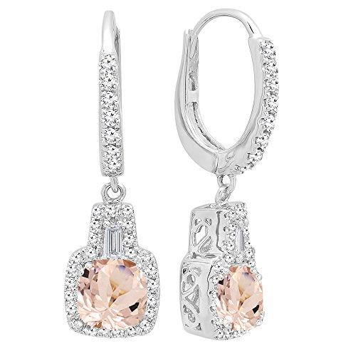 DazzlingRock Collection 14K de oro de 5 MM cada una de las piedras preciosas de los cojines y aretes cónicos y redondos de las mujer de diamantes Morganita