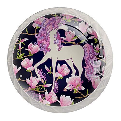 Manijas para cajones Perillas para gabinetes Perillas Redondas Paquete de 4 para armario, cajón, cómoda, cómoda, etc., Unicornio y flores de magnolia rosa