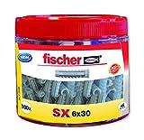 fischer - Round Box Sx 6X30, tacos de nylon, Gris, Bote de 300 Uds.