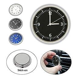 EEEKit Car Clock, Luminous Quartz Analog Watch Universal Pocket Mini Stick-On Clock for Car Boat Bike Home (Black)