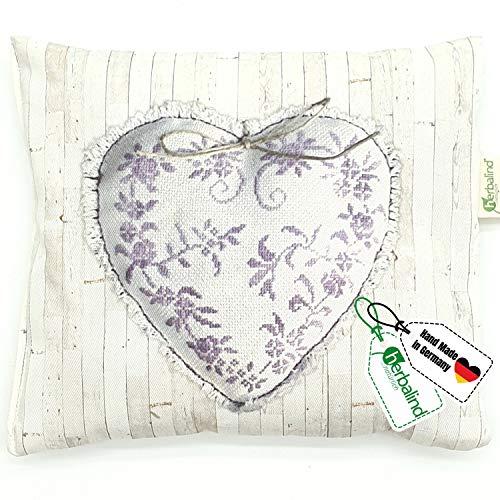 HERBALIND Lavendelkissen zum Schlafen Motiv Herz - Schlafkissen 20x25cm gefüllt mit getrockneten Lavendelblüten und Schafschurwolle, Lavendel Nachtkissen, Schlafhilfe bei Schlafstörungen (Herz)