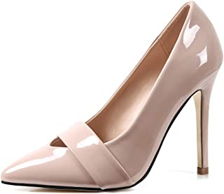 Robasiom Womens Classic Pointed Toe High Heel Slip On Stiletto Pumps Wedding Party Basic Shoes Dress Pump