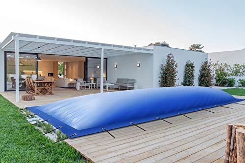 ! (Profi-Qualität) Rechteckige aufblasbare Poolplanen Schwimmbad Abdeckungen aus LKW-Plane (7m x 3,5m, Blau)