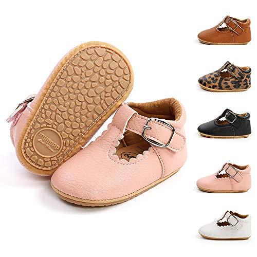 BiBeGoi Zapatos de piel sintética con cordones antideslizantes suela de goma suave para niños y niñas, color Negro, talla 12-18 meses