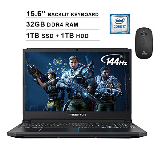 2020 Acer Predator Helios 300 15.6 Inch 144Hz FHD Gaming Laptop (9th Gen 6-Core i7-9750H, 32GB RAM, 1TB PCIe SSD + 1TB HDD, Backlit Keyboard, GTX 1660 Ti, Win 10) + NexiGo Wireless Mouse Bundle