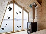 Muttfy Stickers Fenêtre Alerte Anti-Collision pour Alerte Prévention des Coups d'Oiseaux sur les Portes en Verre de Fenêtre (Lot de 12 Silhouettes Noir)