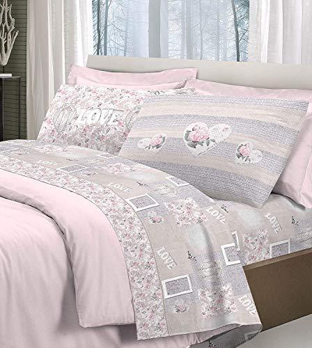 shabby romantic Romantic Shabby Love Rosa - Matrimoniale. Made in Italy - Set Lenzuola 100% Cotone - Completo Cotone + Federe