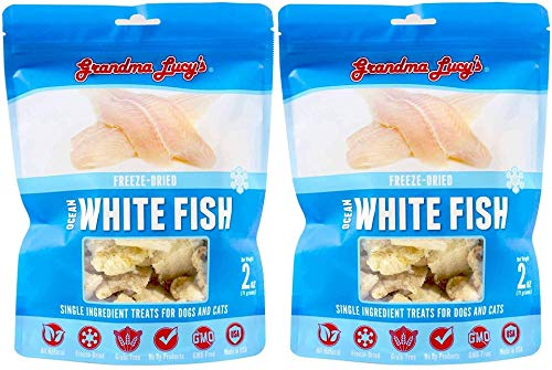 Grandma Lucy's Singles Pet Treat, Freeze-Dried Single Ingredient Treats for Dogs and Cats - Ocean White Fish, 2 oz (2 Pack)