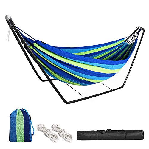 HJZ Hammock with Stand,Double Cotton Hammock Swing with Frame,Garden Outdoor Indoor Camping Cotton Hammocks with Metal Steel Stand for Travel Patio Beach,Kids Adult Portable Canvas with Carry Bag
