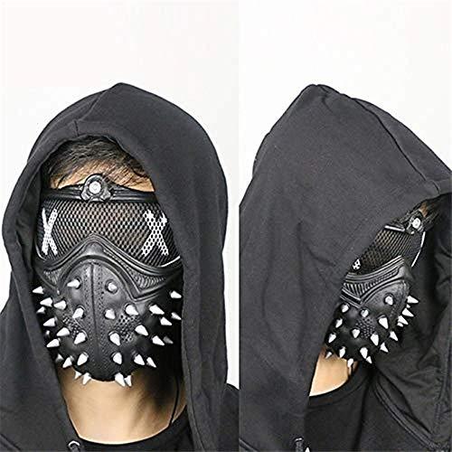 Gshy Steampunk-Maske aus Metall, für Herren, halbes Gesicht, Airsoft, Wind, cool, Punk, Nieten, Mascarade, Halloween, Party, Maske, Leder, Schwarz