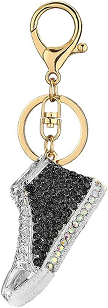 High Top Sneakers Rhinestone Keychain,Sports Shoes Sparkling Keyring