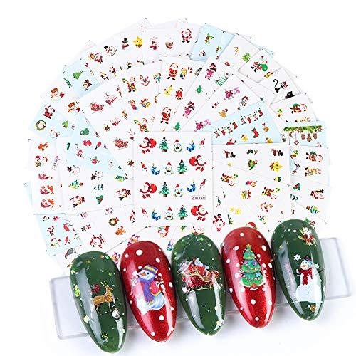 Christmas Nail Art Stickers 44 Sheets 1500+ Patterns Self-Adhesive Nail Decals Snowman Flake Deer Sock Sugar Heart Design for Women Girls Kids DIY Christmas Nail Decoration