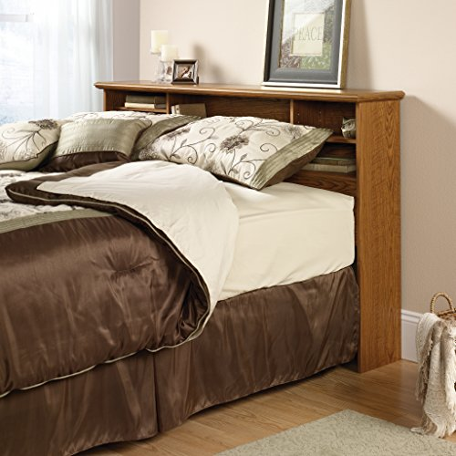 A bookcase headboard is simple way to save space in a small room by using your bed more efficiently