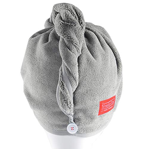 YoulerTex Microfiber Hair Towel Wrap for Women, 2 Pack 10 inch X 26 inch Super Absorbent Quick Dry Hair Turban for Drying Curly Long Thick Hair (Gray)