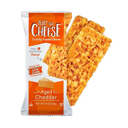 Just the Cheese Bars 12-pack, Crunchy Baked Low Carb Snack Bars. 100% Natural Cheese. High Protein and Gluten Free (Aged Cheddar, 12-Pack)