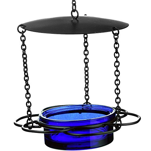 Mosaic Birds M446-200-15 Floral Bird Feeder Cobalt Blue