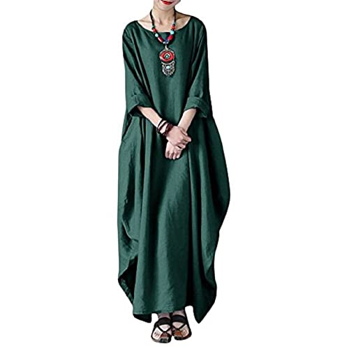 db93e212338 Landove Women Summer Cotton Linen Dress Plus Size Vintage Loose Kaftan  Casual Boho Chic A Line